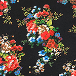 Red Blue Floral Bouquets on Black Cotton Jersey Spandex Blend Knit Fabric