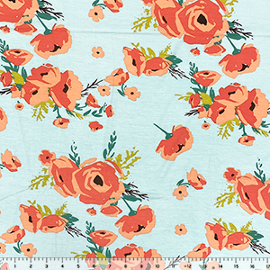 Coral Poppy Floral on Aqua Cotton Jersey Spandex Blend Knit Fabric