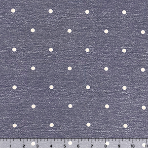 White Dots on Denim Blue Cotton Jersey Spandex Blend Knit Fabric