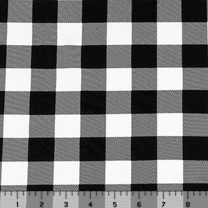 Black Plaid on White Modal Spandex Blend Knit Fabric