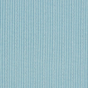 Sky Blue Embroidered Stripe Cotton Ribbing Knit Fabric
