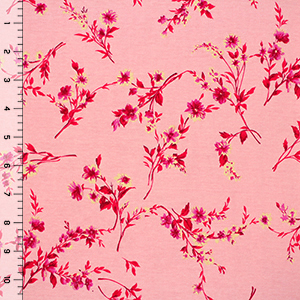 Red Yellow Floral Vines on Pink Cotton Rib Knit Fabric