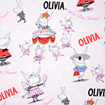 Olivia and the Fairy Princess on Pink Cotton Rib Knit Fabric