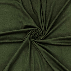 Olive Green Solid Cotton Spandex Blend Rib Knit Fabric