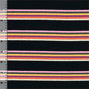 Muted Retro Stripes On Black Wide Wale Jersey Blend Ribbed Knit Fabric