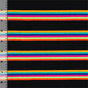 Rainbow Retro Stripes On Black Wide Wale Jersey Spandex Blend Ribbed Knit Fabric