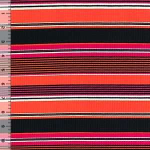Fuchsia Orange Black Retro Stripe Jersey Spandex Blend Ribbed Knit Fabric