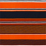 Rust Orange Black Retro Stripe Jersey Spandex Blend Ribbed Knit Fabric