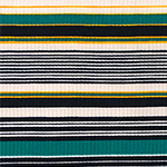 Teal Green Yellow Black Retro Stripe Jersey Spandex Blend Ribbed Knit Fabric