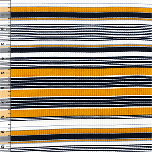Mustard Gray Black Retro Stripe Jersey Spandex Blend Ribbed Knit Fabric