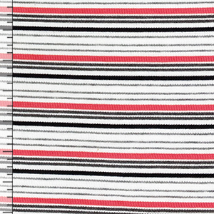 Coral Pink Gray Black Retro Stripe Jersey Spandex Blend Ribbed Knit Fabric