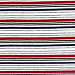 Red Gray Navy Blue Retro Stripe Jersey Spandex Blend Ribbed Knit Fabric