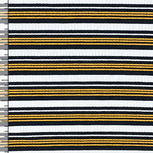 Marigold Black Retro Stripe Jersey Spandex Blend Ribbed Knit Fabric