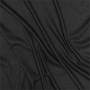 True Black Solid Jersey Spandex Blend Ribbed Knit Fabric