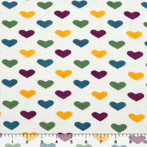 Heart Rows Vintage Rainbow Cotton Thermal Knit Fabric