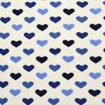 Heart Rows Blue Cotton Thermal Knit Fabric