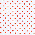 Coral Dots on White Cotton Jersey Blend Knit Fabric