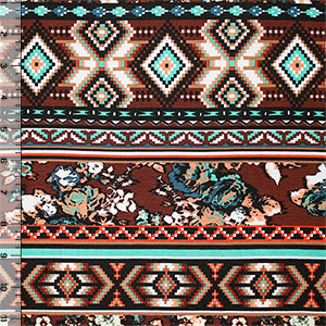 Brown Mint Digital Floral Ethnic Cotton Jersey Blend Knit Fabric