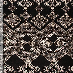 Big Black Mocha Floral Diamonds Cotton Jersey Blend Knit Fabric
