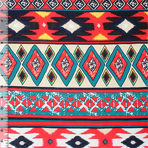 Half Yard Teal Blue Red Ethnic Diamonds Cotton Jersey Blend Knit Fabric