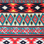 Teal Blue Red Ethnic Diamonds Cotton Jersey Blend Knit Fabric