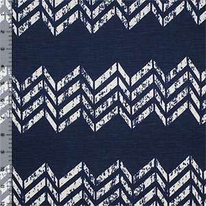 Navy Blue Vintage Broken Chevron Cotton Jersey Blend Knit Fabric