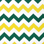 Green Yellow Chevron on White Cotton Jersey Blend Knit Fabric