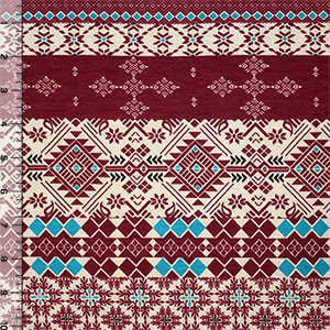 Burgundy Teal Navajo Ethnic Stripes Cotton Spandex Blend Knit Fabric