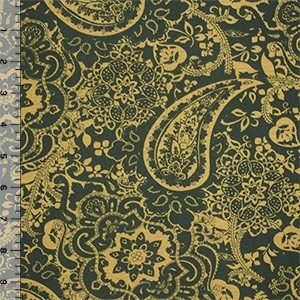 Half Yard Green Gold Paisley Baroque Floral Cotton Spandex Blend Knit Fabric