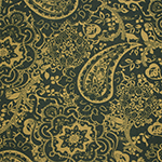 Green Gold Paisley Baroque Floral Cotton Spandex Blend Knit Fabric
