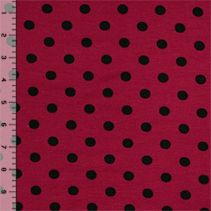 Black Dots on Wine Red Cotton Spandex Blend Knit Fabric