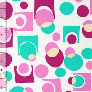 Pink Mint Geo Modal Cotton Spandex Blend Knit Fabric