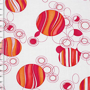 Magenta Orange Mod Circles Modal Cotton Spandex Blend Knit Fabric