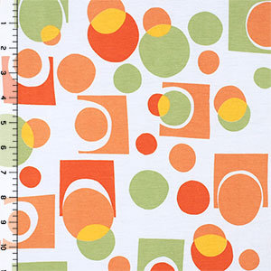 Half Yard Orange Green Geo Modal Cotton Spandex Blend Knit Fabric