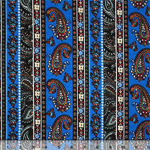 Royal Blue Paisley Baroque Vertical Rows Cotton Spandex Blend Knit Fabric