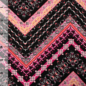 Floral Adorned Chevrons Cotton Spandex Blend Knit Fabric