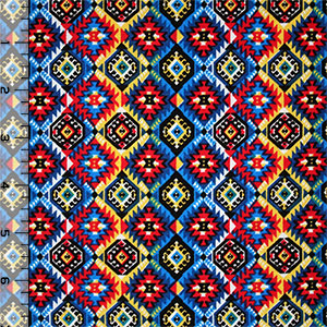 Red Blue Mini Ethnic Emblems Cotton Spandex Blend Knit Fabric