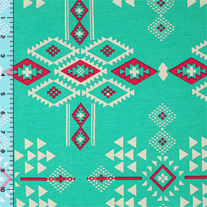 Fuchsia Cream Navajo on Aqua Cotton Spandex Blend Knit Fabric