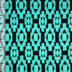 Turquoise Black Diamond Squares Cotton Spandex Blend Knit Fabric