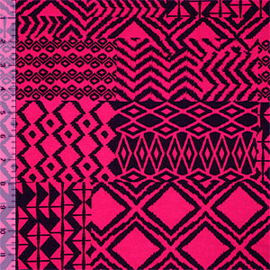 Black Ethnic Patchwork on Fuchsia Cotton Spandex Blend Knit Fabric