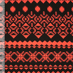 Muted Coral and Black Ethnic Rows Cotton Spandex Blend Knit Fabric