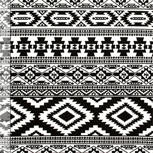 Half Yard Black Detailed Small Ethnic Cotton Spandex Blend Knit Fabric