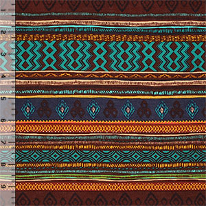 Half Yard Earthy Hand Drawn Ethnic Cotton Spandex Blend Knit Fabric