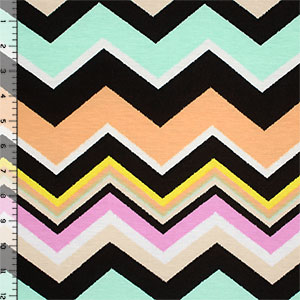 Stamped Sherbet Chevron Cotton Spandex Blend Knit Fabric