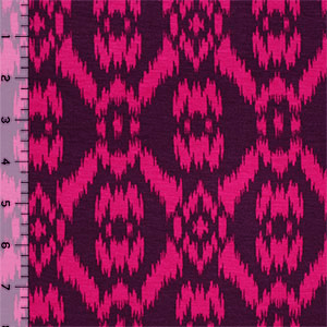 Purple Magenta Ikat Cotton Spandex Blend Knit Fabric