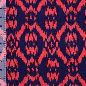 Blue Coral Ikat Cotton Spandex Blend Knit Fabric