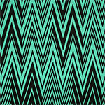 Black Linear Chevron on Aqua Blue Cotton Spandex Blend Knit Fabric