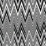 Black Linear Chevron on White Cotton Spandex Blend Knit Fabric