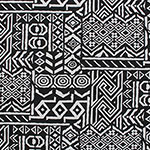 Black White Aztec Cotton French Terry Knit Fabric