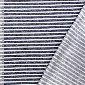 Denim Blue White Stripe French Terry Knit Fabric